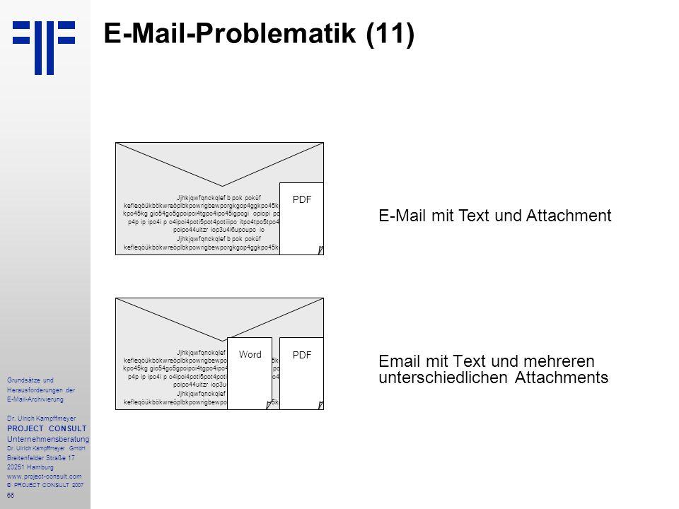66 Grundsätze und Herausforderungen der E-Mail-Archivierung Dr. Ulrich Kampffmeyer PROJECT CONSULT Unternehmensberatung Dr. Ulrich Kampffmeyer GmbH Br