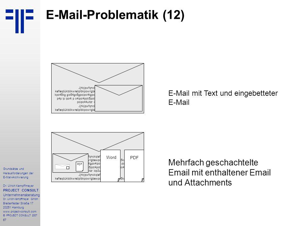 67 Grundsätze und Herausforderungen der E-Mail-Archivierung Dr. Ulrich Kampffmeyer PROJECT CONSULT Unternehmensberatung Dr. Ulrich Kampffmeyer GmbH Br