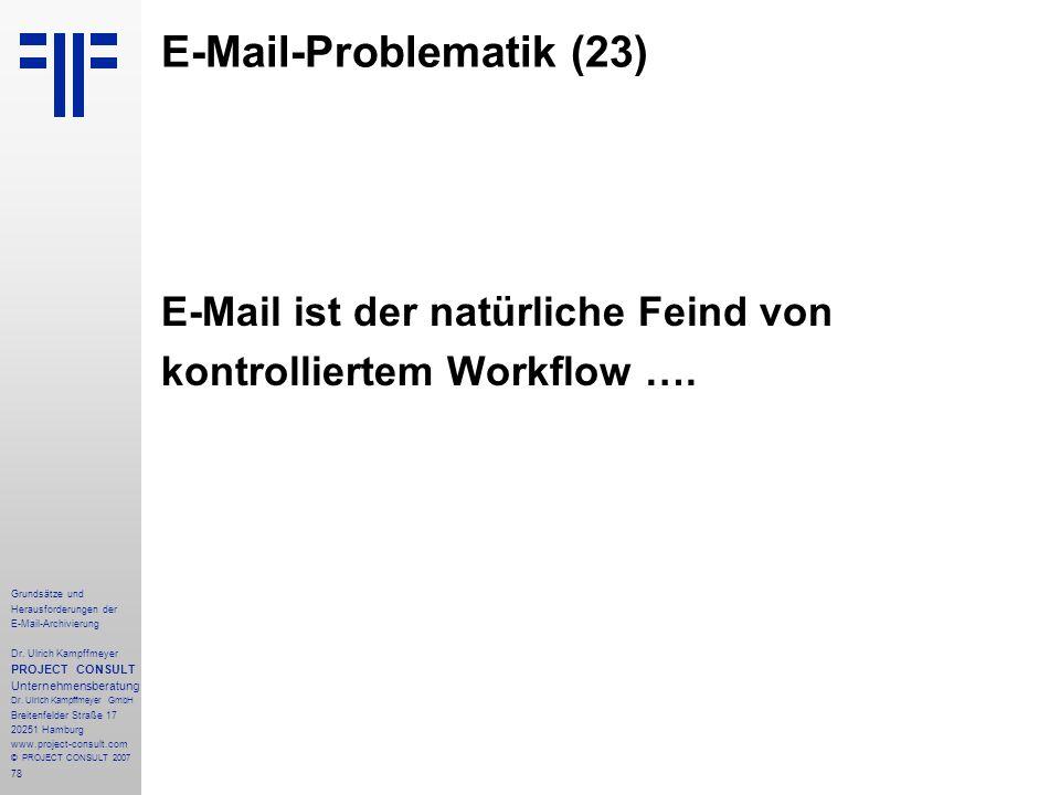 78 Grundsätze und Herausforderungen der E-Mail-Archivierung Dr. Ulrich Kampffmeyer PROJECT CONSULT Unternehmensberatung Dr. Ulrich Kampffmeyer GmbH Br