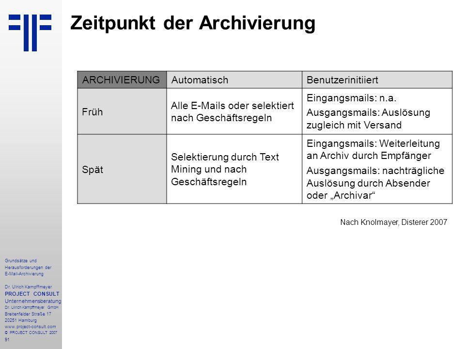 91 Grundsätze und Herausforderungen der E-Mail-Archivierung Dr. Ulrich Kampffmeyer PROJECT CONSULT Unternehmensberatung Dr. Ulrich Kampffmeyer GmbH Br