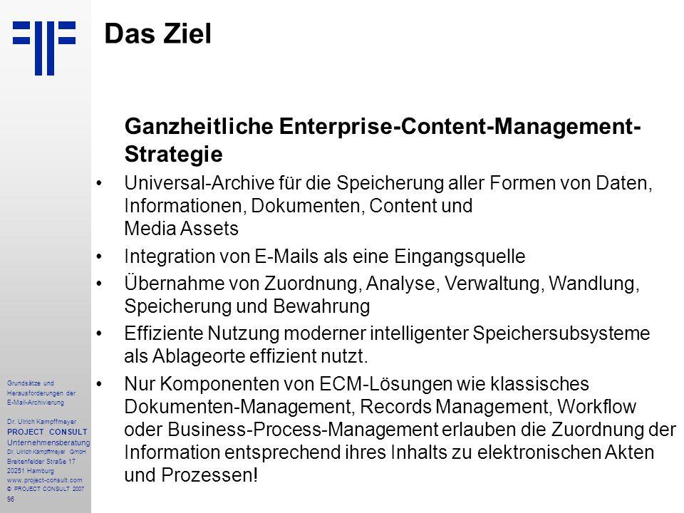 96 Grundsätze und Herausforderungen der E-Mail-Archivierung Dr. Ulrich Kampffmeyer PROJECT CONSULT Unternehmensberatung Dr. Ulrich Kampffmeyer GmbH Br