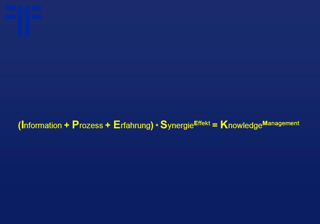 ( I nformation + P rozess + E rfahrung ) * S ynergie Effekt = K nowledge Management