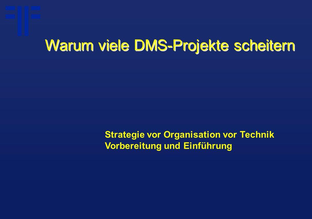 Strategie vor Organisation vor Technik Vorbereitung und Einführung Warum viele DMS-Projekte scheitern