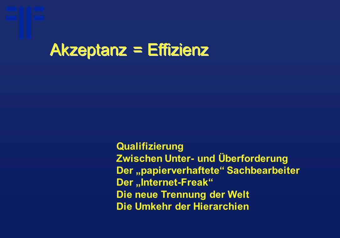 """Qualifizierung Zwischen Unter- und Überforderung Der """"papierverhaftete Sachbearbeiter Der """"Internet-Freak Die neue Trennung der Welt Die Umkehr der Hierarchien Akzeptanz = Effizienz"""