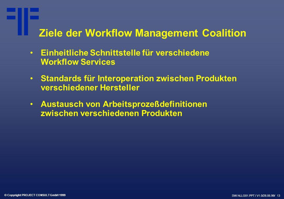 © Copyright PROJECT CONSULT GmbH 1999 SW/ ALLG01.PPT / V1.0/26.05.99/ 13 Einheitliche Schnittstelle für verschiedene Workflow Services Standards für Interoperation zwischen Produkten verschiedener Hersteller Austausch von Arbeitsprozeßdefinitionen zwischen verschiedenen Produkten Ziele der Workflow Management Coalition