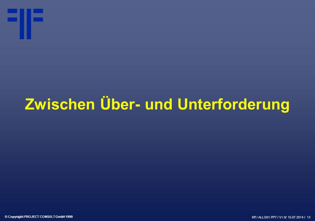 © Copyright PROJECT CONSULT GmbH 1999 Kff / ALLG01.PPT / V1.0/ 15.07.2014 / 13 Zwischen Über- und Unterforderung