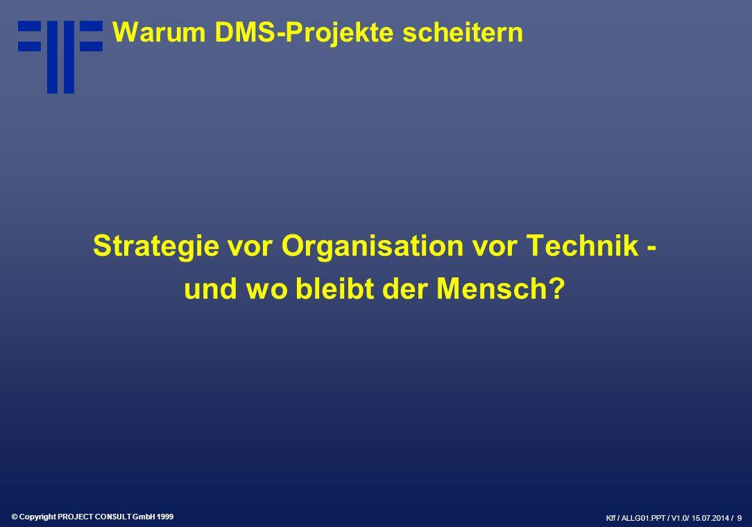 © Copyright PROJECT CONSULT GmbH 1999 Kff / ALLG01.PPT / V1.0/ 15.07.2014 / 9 Warum DMS-Projekte scheitern Strategie vor Organisation vor Technik - und wo bleibt der Mensch?