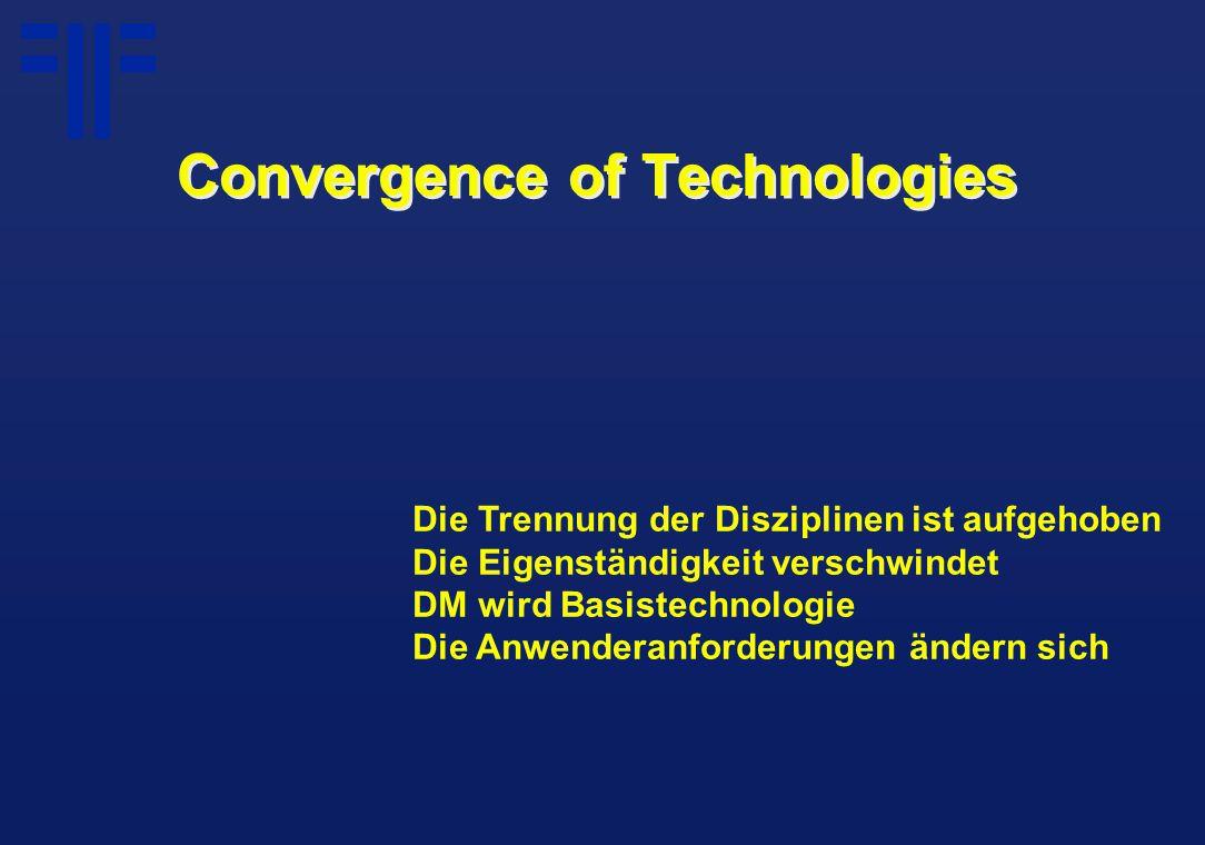 Convergence of Technologies Die Trennung der Disziplinen ist aufgehoben Die Eigenständigkeit verschwindet DM wird Basistechnologie Die Anwenderanforderungen ändern sich