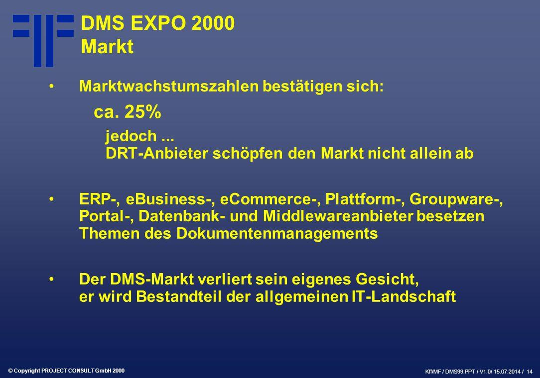 © Copyright PROJECT CONSULT GmbH 2000 Kff/MF / DMS99.PPT / V1.0/ 15.07.2014 / 14 DMS EXPO 2000 Markt Marktwachstumszahlen bestätigen sich: ca.