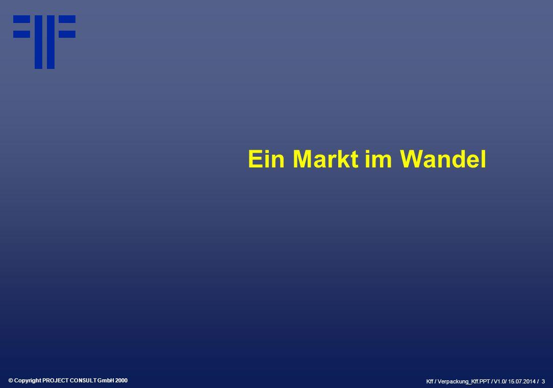 © Copyright PROJECT CONSULT GmbH 2000 Kff / Verpackung_Kff.PPT / V1.0/ 15.07.2014 / 3 Ein Markt im Wandel