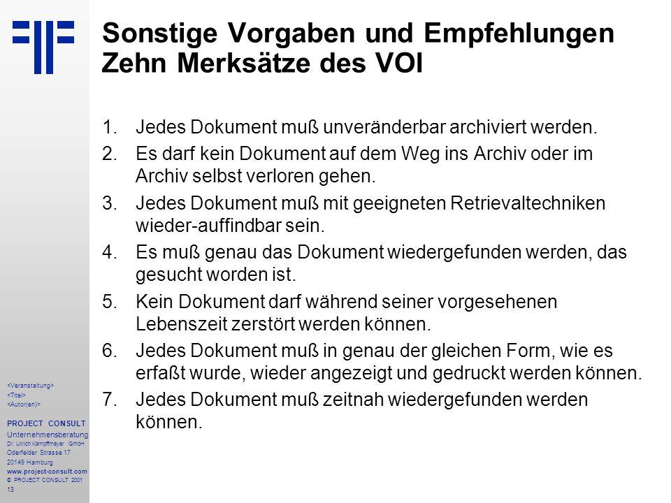 13 PROJECT CONSULT Unternehmensberatung Dr.