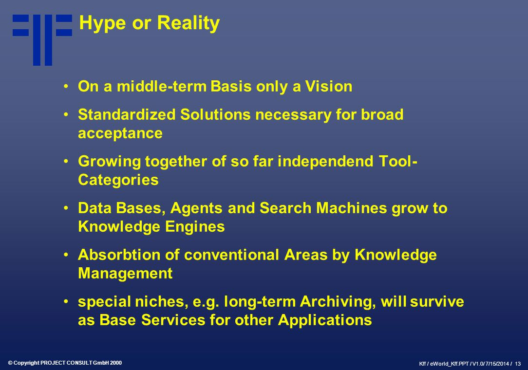 © Copyright PROJECT CONSULT GmbH 2000 Kff / eWorld_Kff.PPT / V1.0/ 7/15/2014 / 13 Hype or Reality On a middle-term Basis only a Vision Standardized So