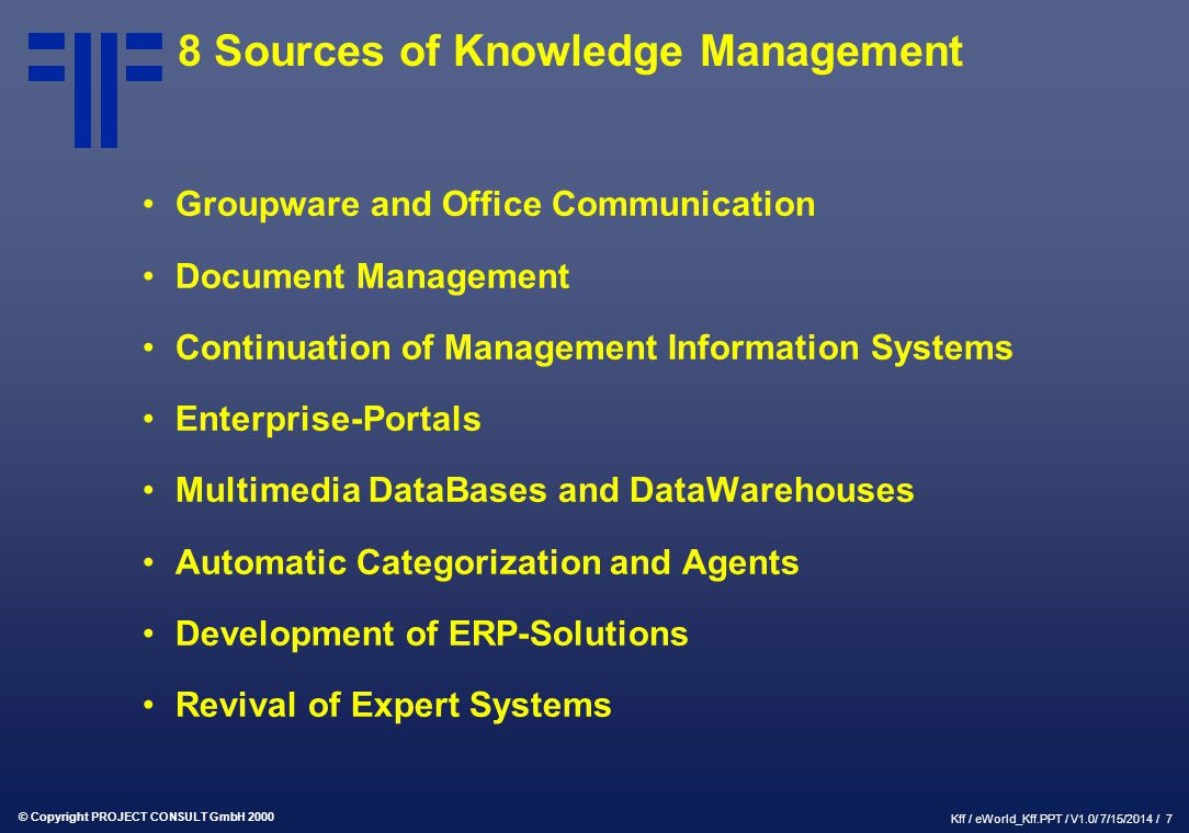 © Copyright PROJECT CONSULT GmbH 2000 Kff / eWorld_Kff.PPT / V1.0/ 7/15/2014 / 7 8 Sources of Knowledge Management Groupware and Office Communication
