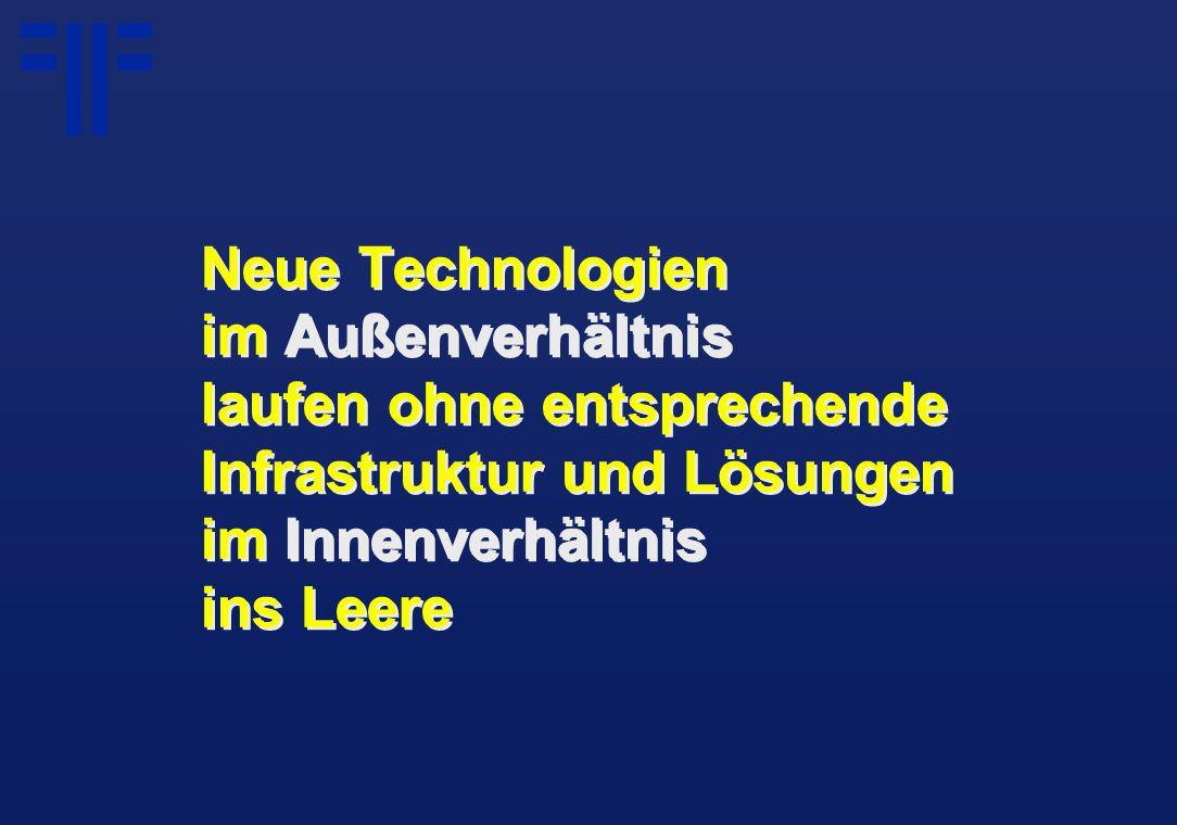 Neue Technologien im Außenverhältnis laufen ohne entsprechende Infrastruktur und Lösungen im Innenverhältnis ins Leere
