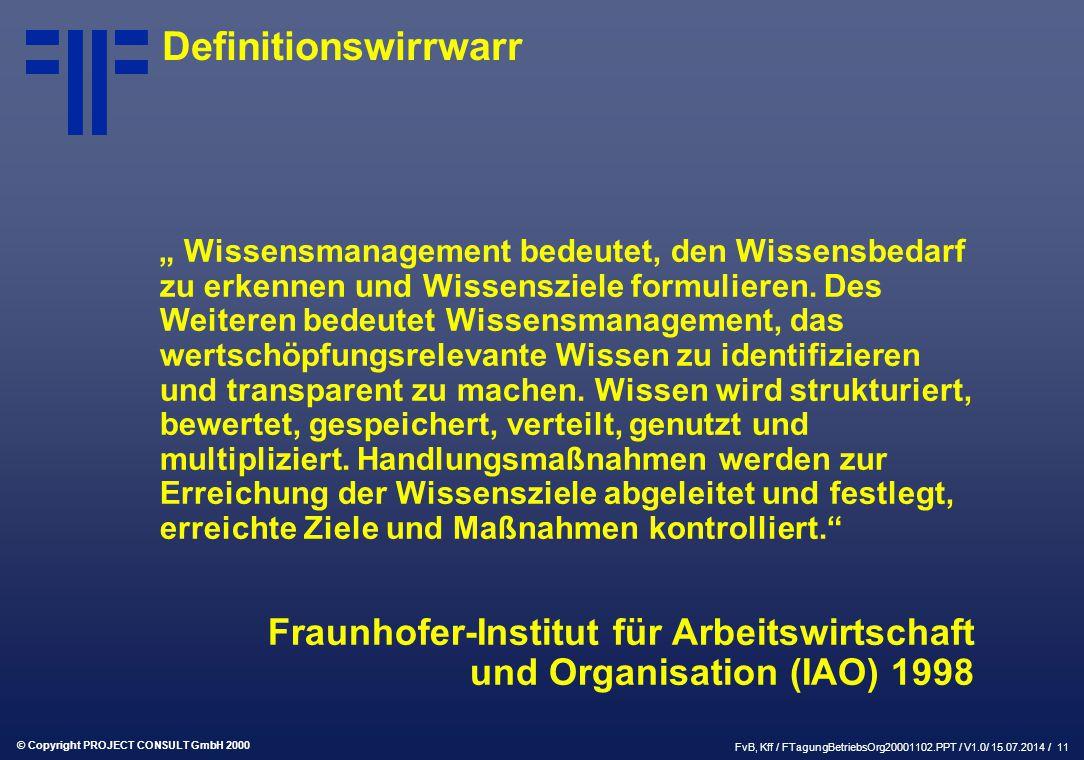 """© Copyright PROJECT CONSULT GmbH 2000 FvB, Kff / FTagungBetriebsOrg20001102.PPT / V1.0/ 15.07.2014 / 11 Definitionswirrwarr """" Wissensmanagement bedeutet, den Wissensbedarf zu erkennen und Wissensziele formulieren."""