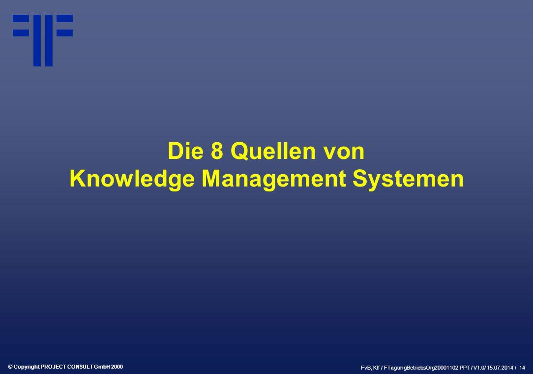 © Copyright PROJECT CONSULT GmbH 2000 FvB, Kff / FTagungBetriebsOrg20001102.PPT / V1.0/ 15.07.2014 / 14 Die 8 Quellen von Knowledge Management Systemen