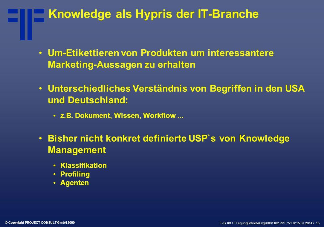 © Copyright PROJECT CONSULT GmbH 2000 FvB, Kff / FTagungBetriebsOrg20001102.PPT / V1.0/ 15.07.2014 / 15 Knowledge als Hypris der IT-Branche Um-Etikettieren von Produkten um interessantere Marketing-Aussagen zu erhalten Unterschiedliches Verständnis von Begriffen in den USA und Deutschland: z.B.