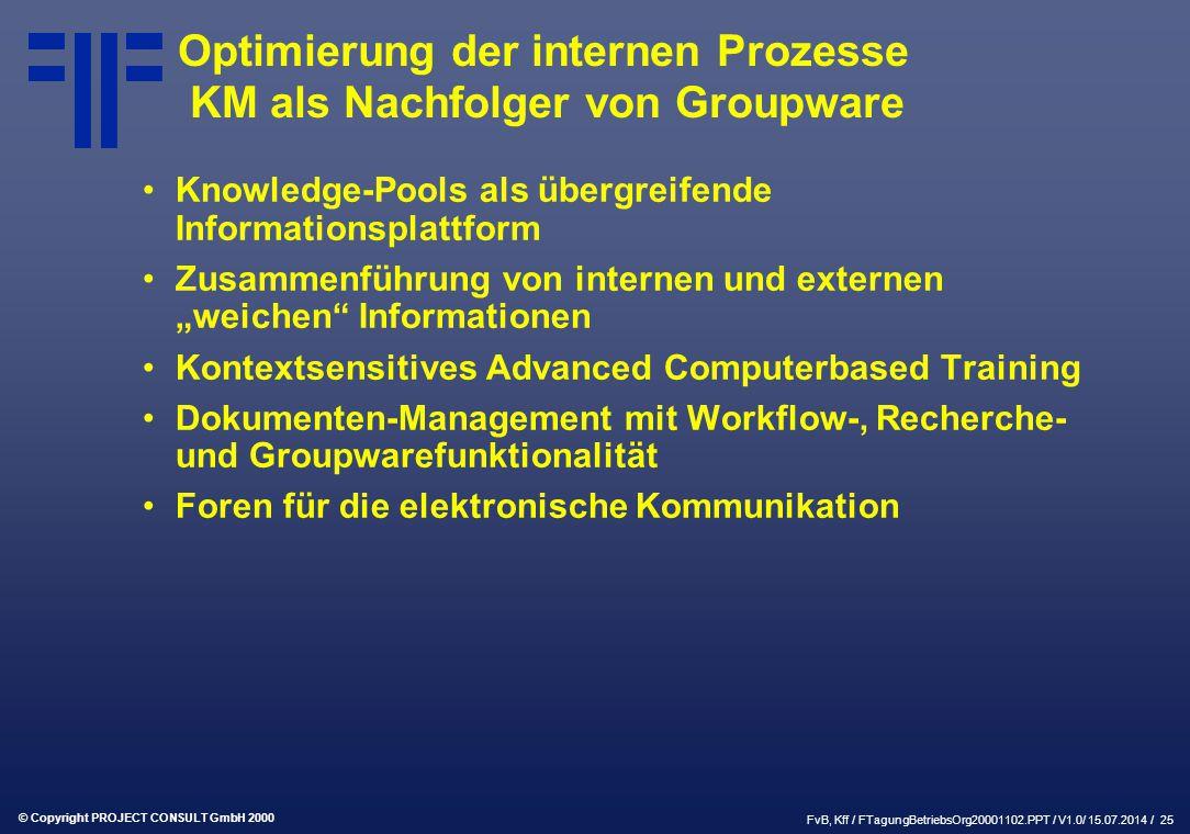 """© Copyright PROJECT CONSULT GmbH 2000 FvB, Kff / FTagungBetriebsOrg20001102.PPT / V1.0/ 15.07.2014 / 25 Optimierung der internen Prozesse KM als Nachfolger von Groupware Knowledge-Pools als übergreifende Informationsplattform Zusammenführung von internen und externen """"weichen Informationen Kontextsensitives Advanced Computerbased Training Dokumenten-Management mit Workflow-, Recherche- und Groupwarefunktionalität Foren für die elektronische Kommunikation"""