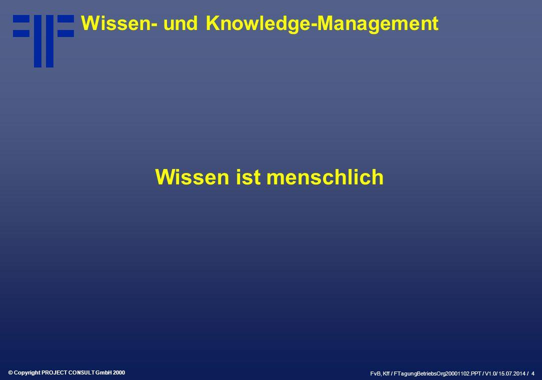 © Copyright PROJECT CONSULT GmbH 2000 FvB, Kff / FTagungBetriebsOrg20001102.PPT / V1.0/ 15.07.2014 / 4 Wissen- und Knowledge-Management Wissen ist menschlich