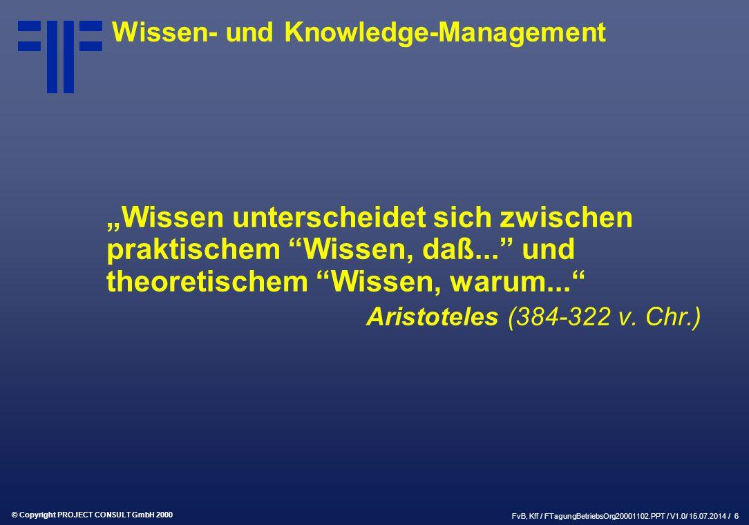 """© Copyright PROJECT CONSULT GmbH 2000 FvB, Kff / FTagungBetriebsOrg20001102.PPT / V1.0/ 15.07.2014 / 6 """"Wissen unterscheidet sich zwischen praktischem Wissen, daß... und theoretischem Wissen, warum... Aristoteles (384-322 v."""
