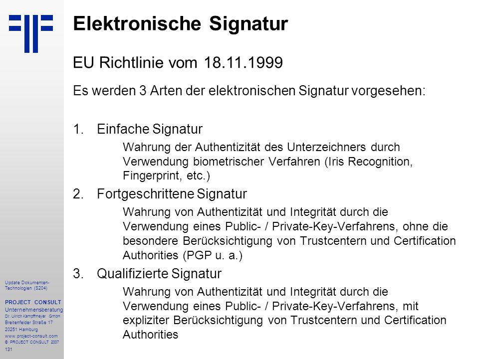 131 Update Dokumenten- Technologien (S204) PROJECT CONSULT Unternehmensberatung Dr. Ulrich Kampffmeyer GmbH Breitenfelder Straße 17 20251 Hamburg www.