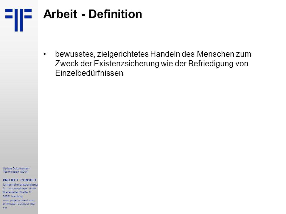 151 Update Dokumenten- Technologien (S204) PROJECT CONSULT Unternehmensberatung Dr. Ulrich Kampffmeyer GmbH Breitenfelder Straße 17 20251 Hamburg www.