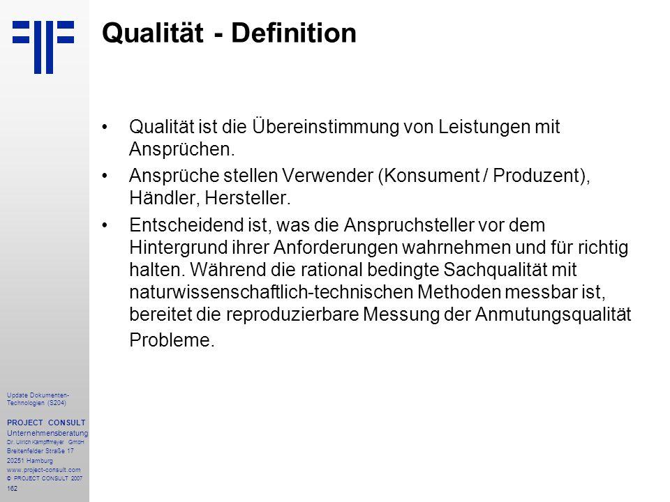 162 Update Dokumenten- Technologien (S204) PROJECT CONSULT Unternehmensberatung Dr. Ulrich Kampffmeyer GmbH Breitenfelder Straße 17 20251 Hamburg www.