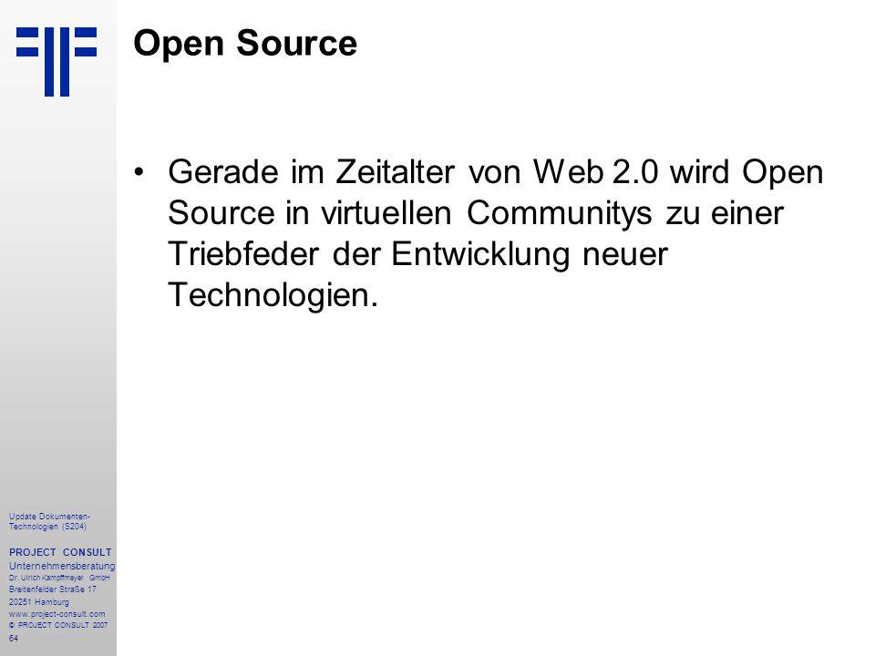 64 Update Dokumenten- Technologien (S204) PROJECT CONSULT Unternehmensberatung Dr. Ulrich Kampffmeyer GmbH Breitenfelder Straße 17 20251 Hamburg www.p