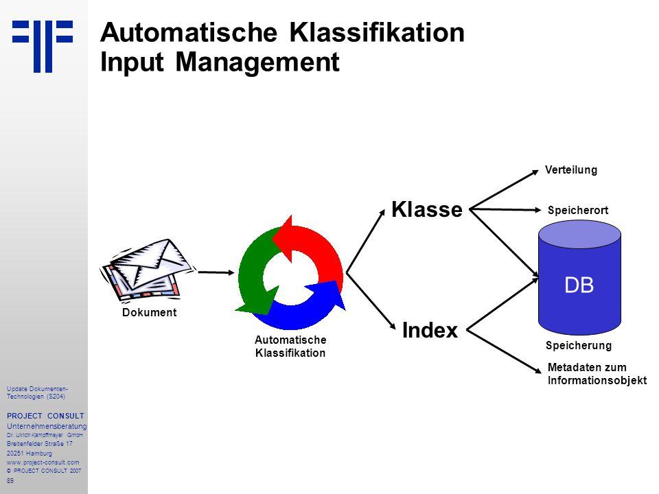 89 Update Dokumenten- Technologien (S204) PROJECT CONSULT Unternehmensberatung Dr. Ulrich Kampffmeyer GmbH Breitenfelder Straße 17 20251 Hamburg www.p
