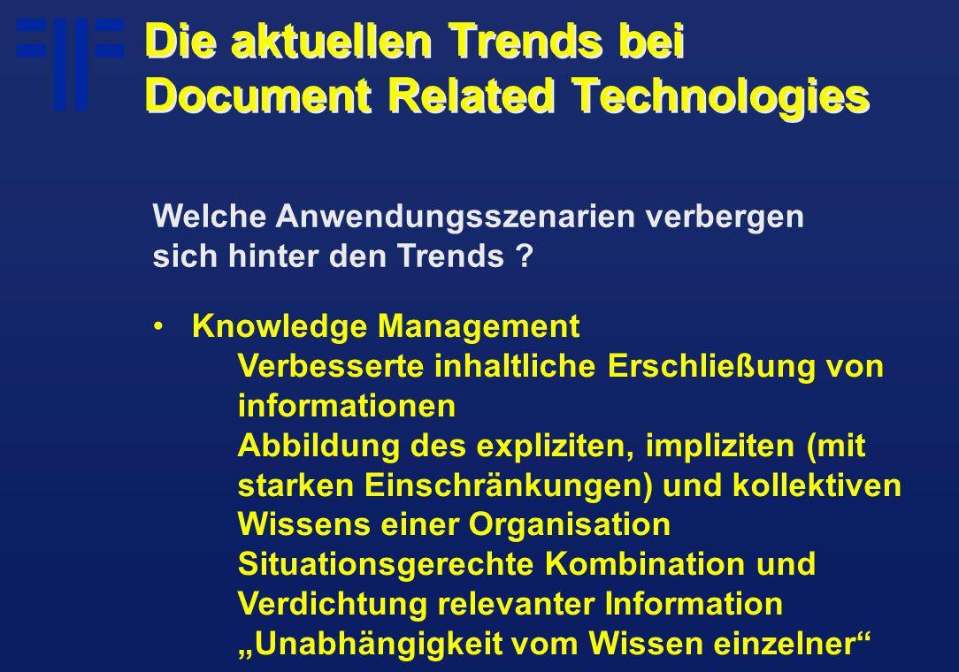Knowledge Management Verbesserte inhaltliche Erschließung von informationen Abbildung des expliziten, impliziten (mit starken Einschränkungen) und kol