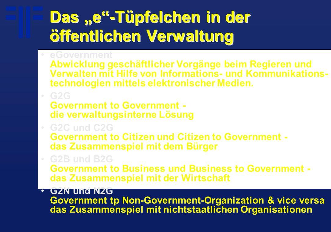 """Das """"e""""-Tüpfelchen in der öffentlichen Verwaltung eGovernment Abwicklung geschäftlicher Vorgänge beim Regieren und Verwalten mit Hilfe von Information"""