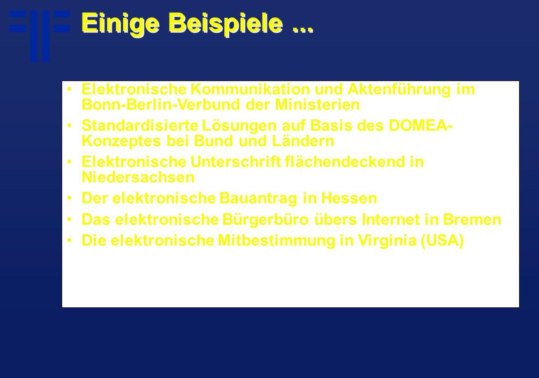 Einige Beispiele... Elektronische Kommunikation und Aktenführung im Bonn-Berlin-Verbund der Ministerien Standardisierte Lösungen auf Basis des DOMEA-