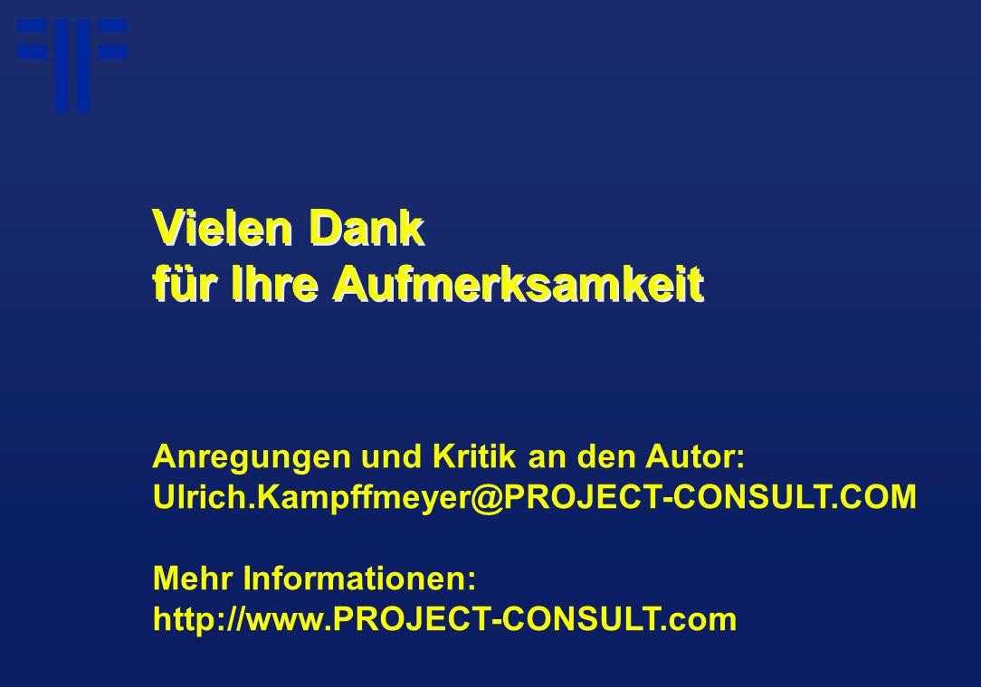 Vielen Dank für Ihre Aufmerksamkeit Anregungen und Kritik an den Autor: Ulrich.Kampffmeyer@PROJECT-CONSULT.COM Mehr Informationen: http://www.PROJECT-
