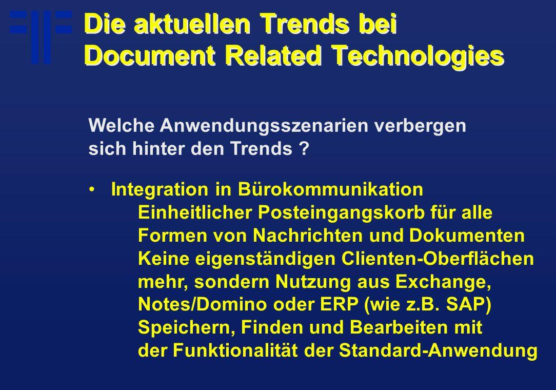 Integration in Bürokommunikation Einheitlicher Posteingangskorb für alle Formen von Nachrichten und Dokumenten Keine eigenständigen Clienten-Oberflächen mehr, sondern Nutzung aus Exchange, Notes/Domino oder ERP (wie z.B.