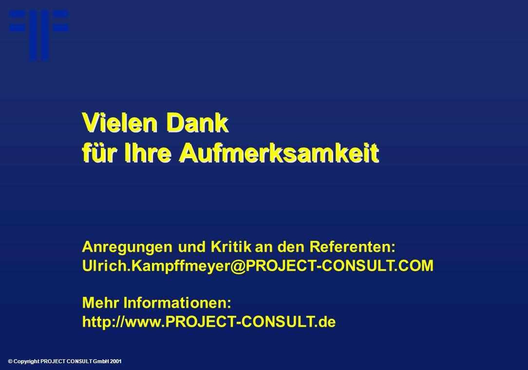 © Copyright PROJECT CONSULT GmbH 2001 Vielen Dank für Ihre Aufmerksamkeit Anregungen und Kritik an den Referenten: Ulrich.Kampffmeyer@PROJECT-CONSULT.COM Mehr Informationen: http://www.PROJECT-CONSULT.de
