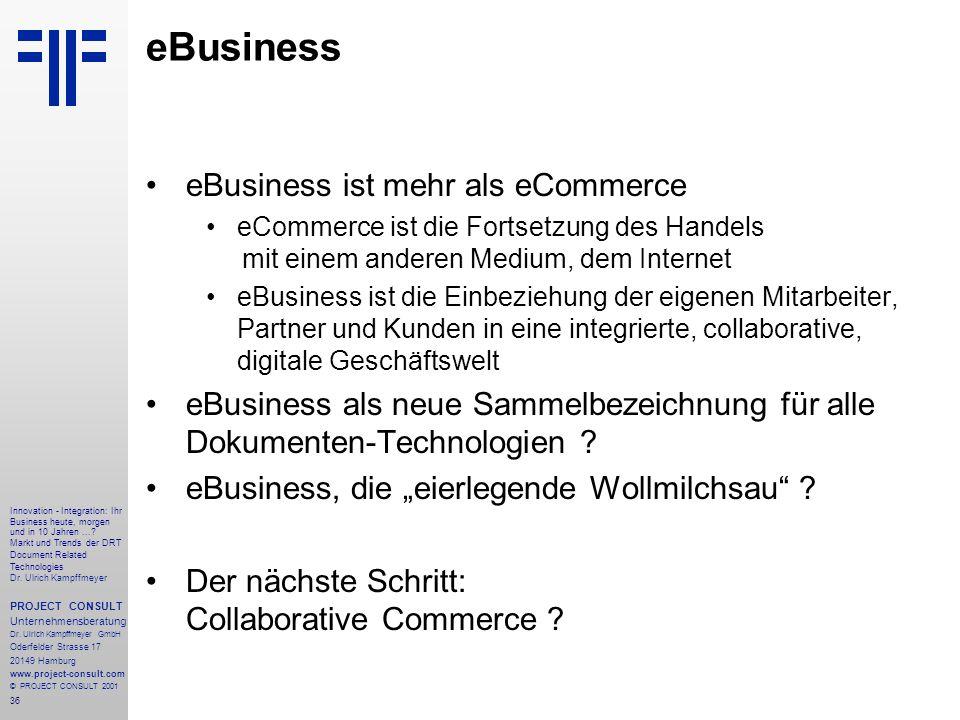 36 Innovation - Integration: Ihr Business heute, morgen und in 10 Jahren....