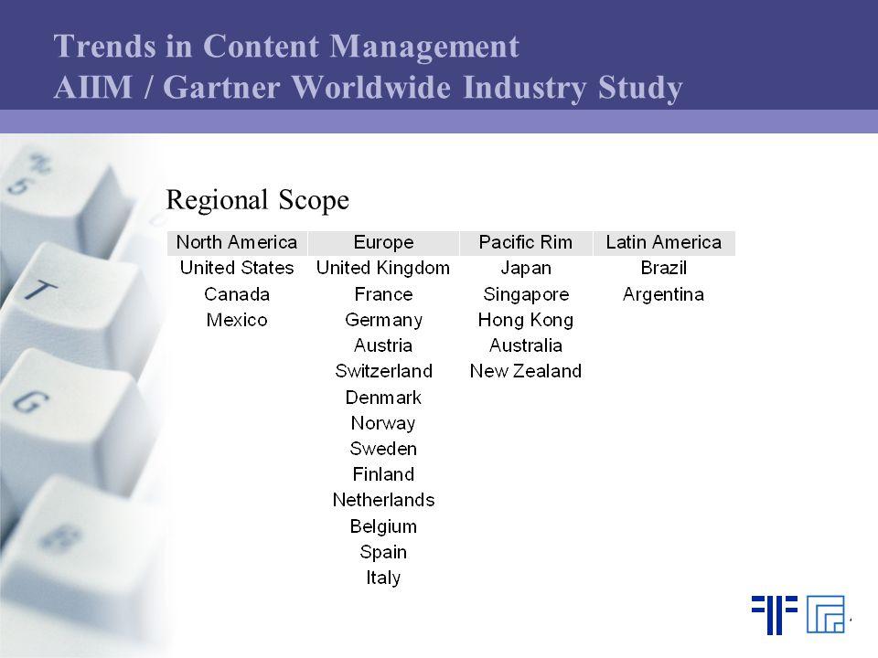 Trends in Content Management AIIM / Gartner Worldwide Industry Study Regional Scope