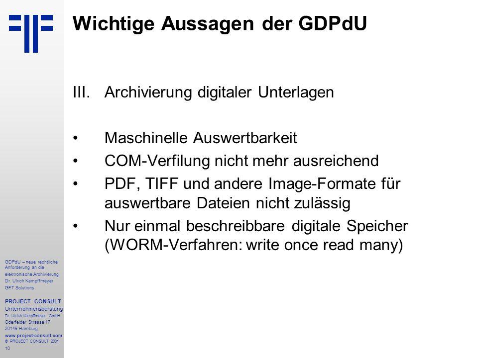 11 GDPdU – neue rechtliche Anforderung an die elektronische Archivierung Dr.