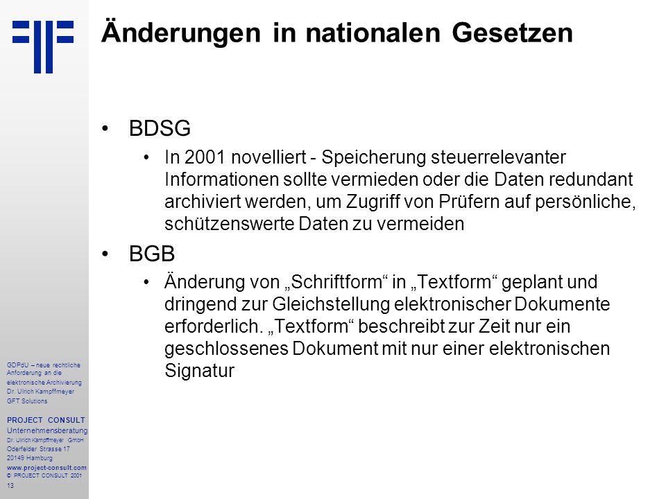 14 GDPdU – neue rechtliche Anforderung an die elektronische Archivierung Dr.