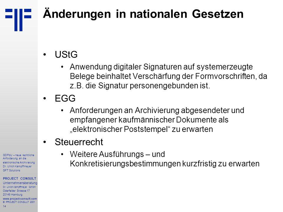 15 GDPdU – neue rechtliche Anforderung an die elektronische Archivierung Dr.