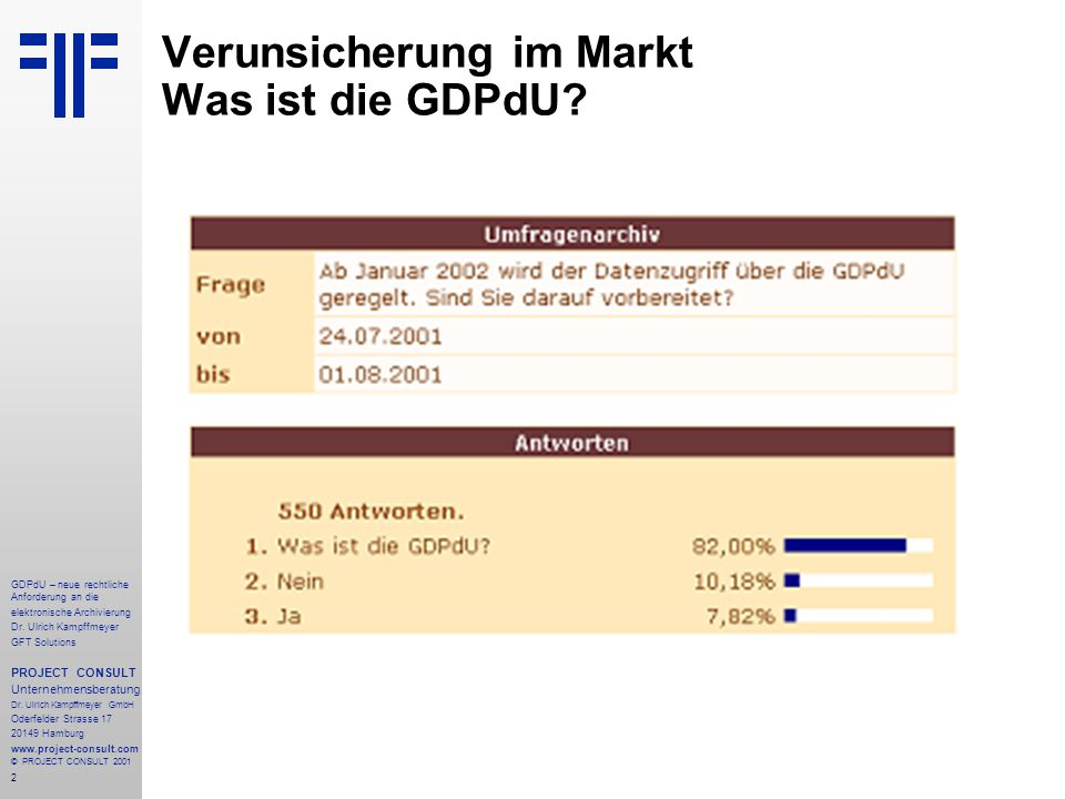 3 GDPdU – neue rechtliche Anforderung an die elektronische Archivierung Dr.