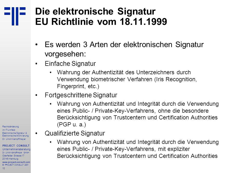 10 Rechtsänderung im IT-Umfeld Elektronische Signatur & Elektronische Archivierung Dr.