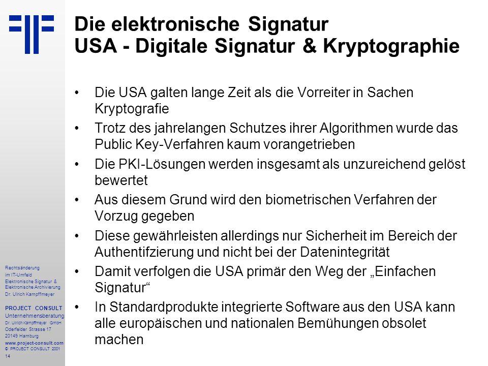 14 Rechtsänderung im IT-Umfeld Elektronische Signatur & Elektronische Archivierung Dr.