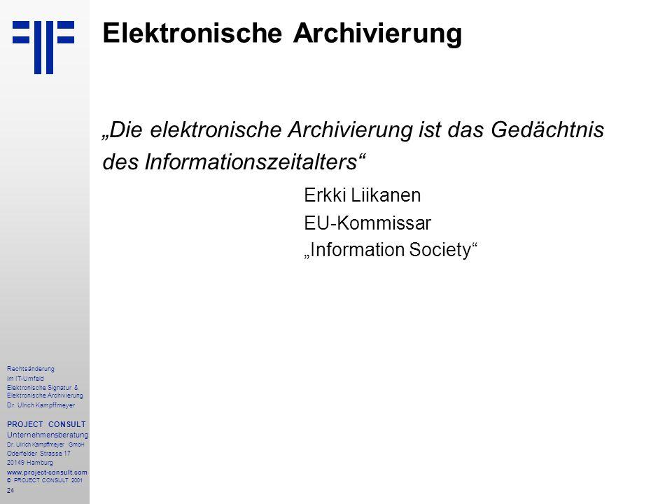 24 Rechtsänderung im IT-Umfeld Elektronische Signatur & Elektronische Archivierung Dr.