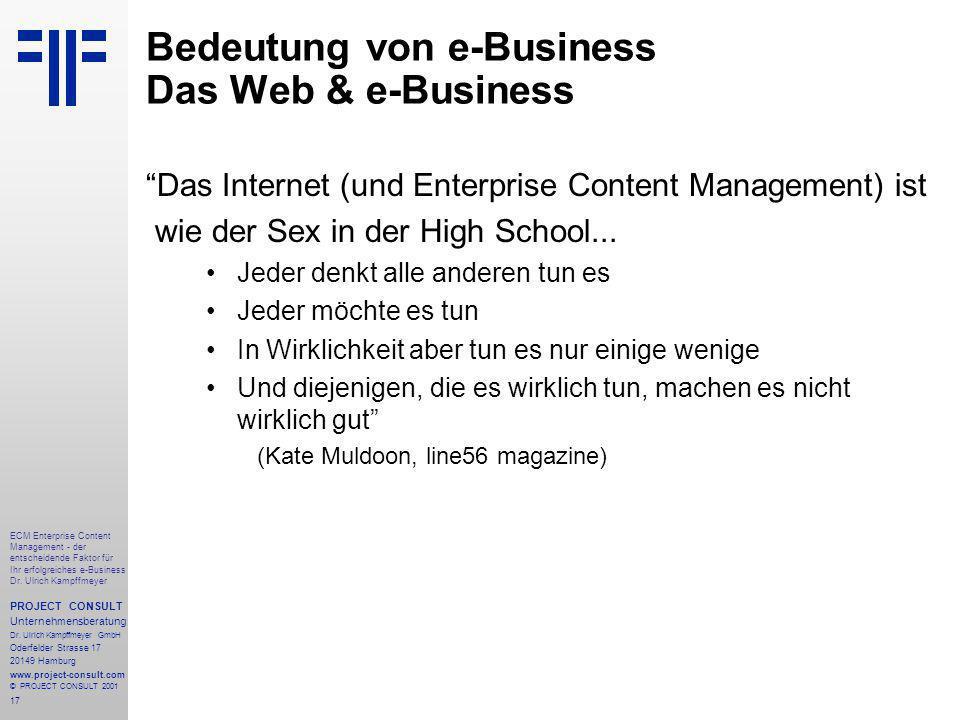 17 ECM Enterprise Content Management - der entscheidende Faktor für Ihr erfolgreiches e-Business Dr.