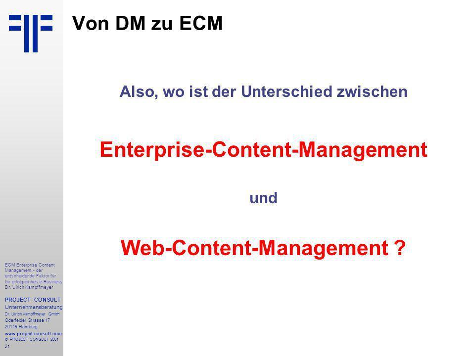 21 ECM Enterprise Content Management - der entscheidende Faktor für Ihr erfolgreiches e-Business Dr.