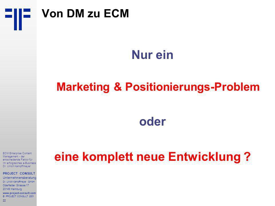 22 ECM Enterprise Content Management - der entscheidende Faktor für Ihr erfolgreiches e-Business Dr.