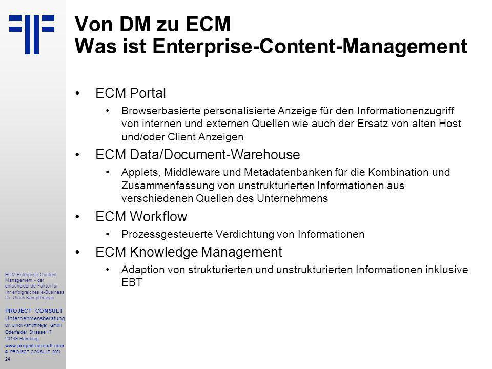 24 ECM Enterprise Content Management - der entscheidende Faktor für Ihr erfolgreiches e-Business Dr.
