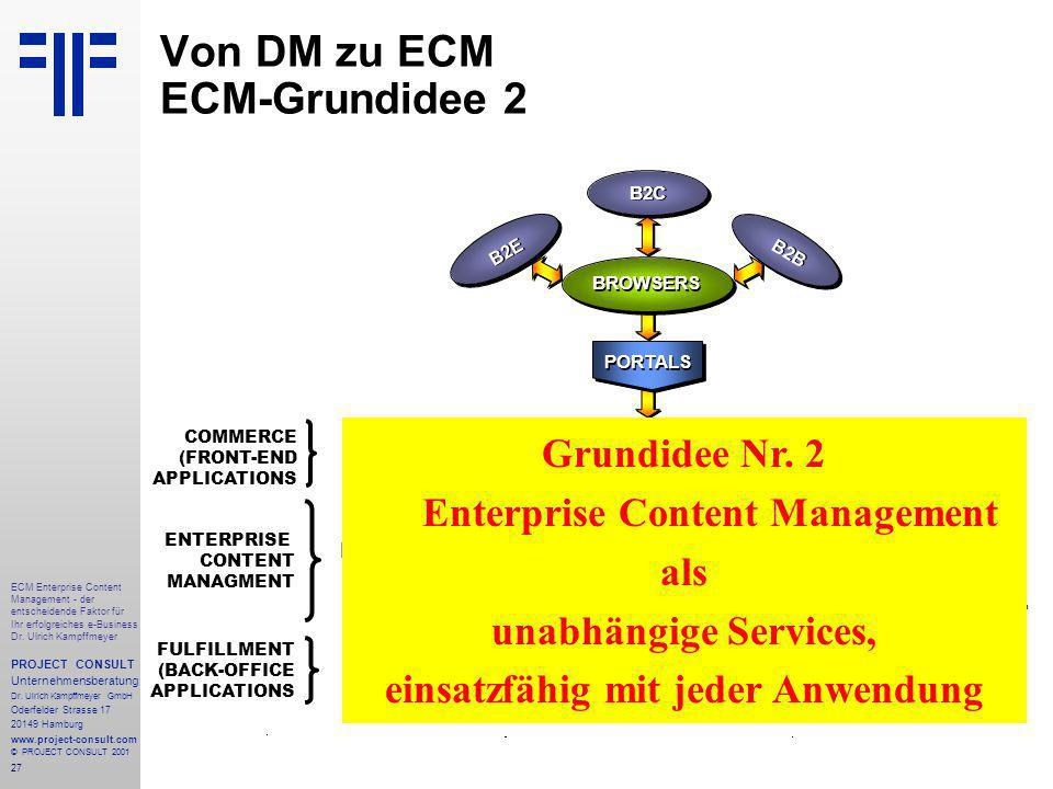 27 ECM Enterprise Content Management - der entscheidende Faktor für Ihr erfolgreiches e-Business Dr.