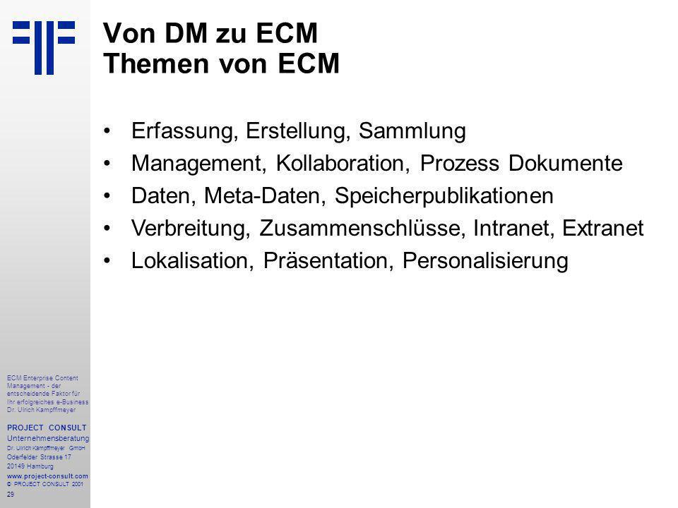 29 ECM Enterprise Content Management - der entscheidende Faktor für Ihr erfolgreiches e-Business Dr.